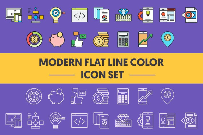 Thumbnail for 1960 Modern Flat Line Color Icons