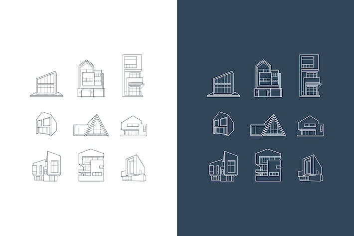 Thumbnail for vector logos of icons with architecture houses