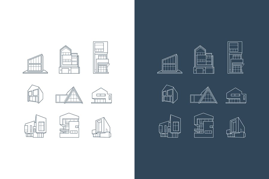 vector logos of icons with architecture houses