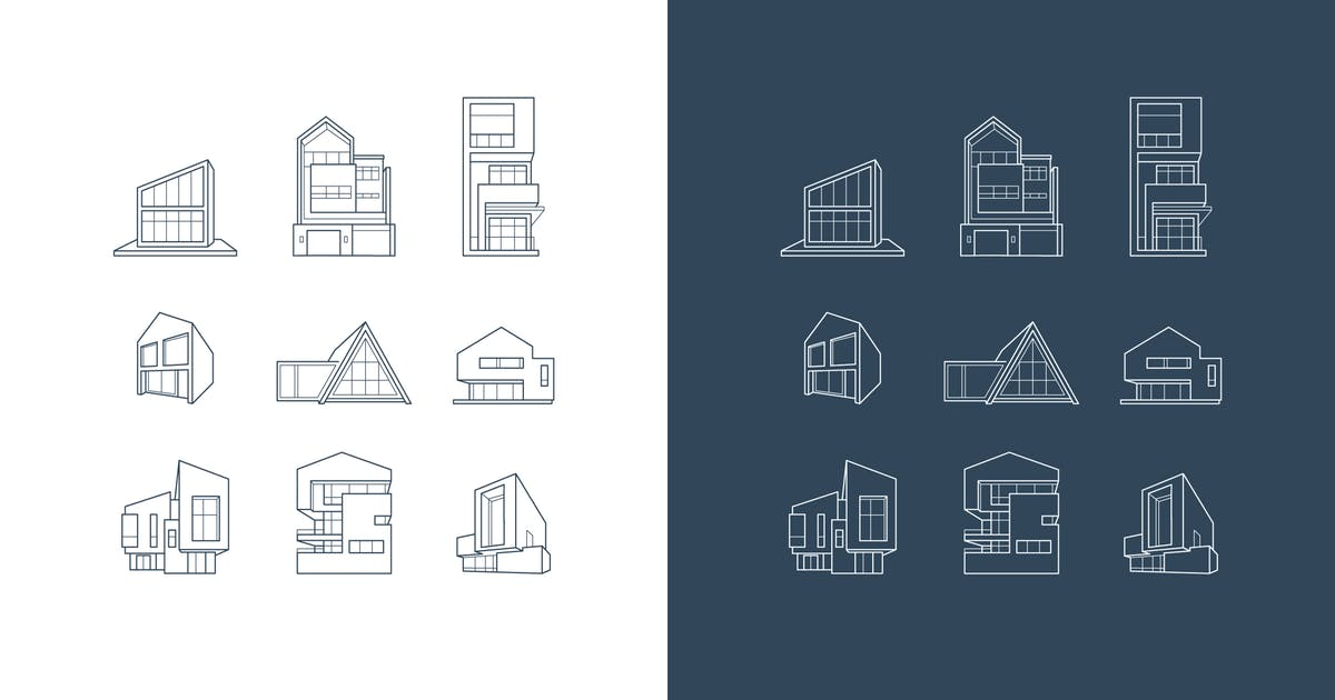 Download vector logos of icons with architecture houses by fet