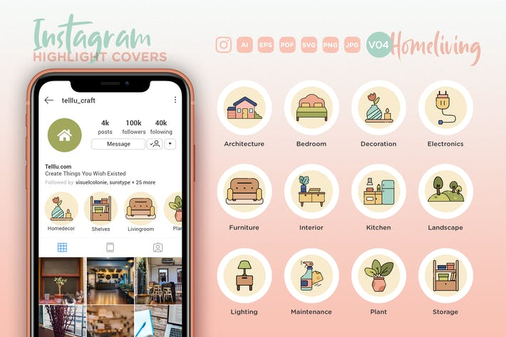 Thumbnail for Instagram Highlight Icon V04 Homeliving