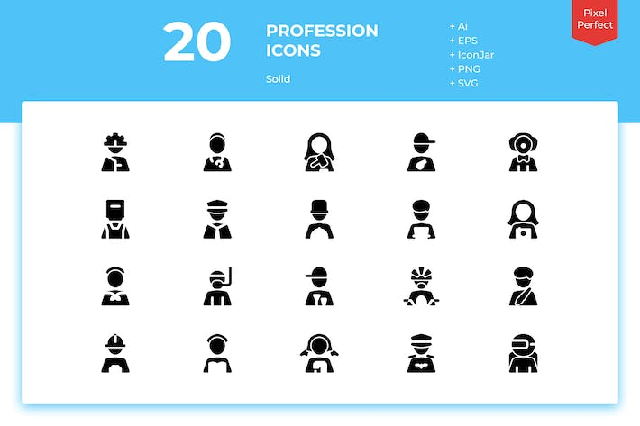 Thumbnail for 20 Profession Icons (Solid)