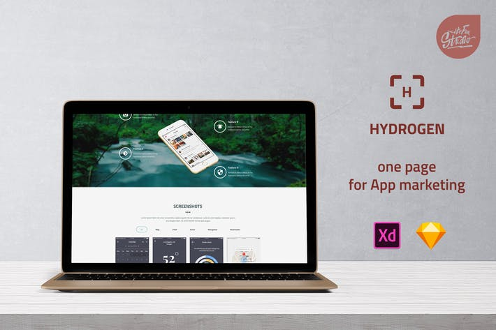 Thumbnail for Hydrogen - One Page for App Marketing UI Template