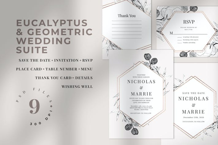 Eucalyptus & Geometric Wedding Suite
