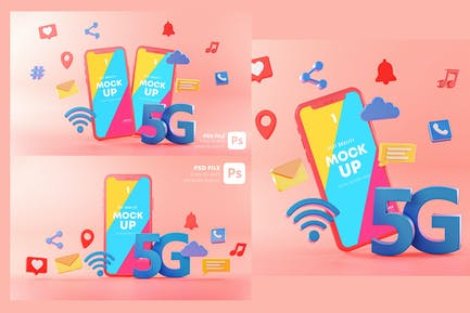 5G Phone Concept Connection on Pink Background