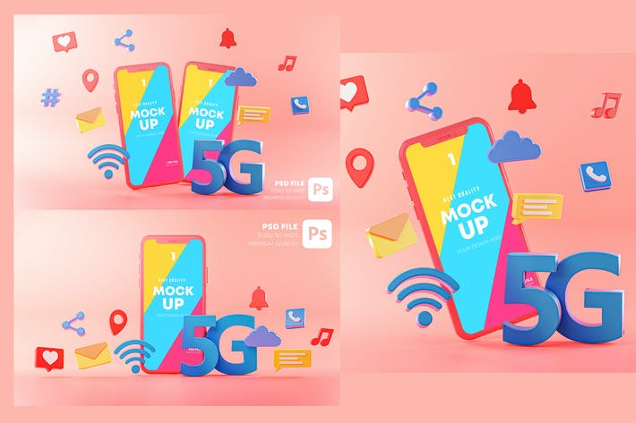 Thumbnail for 5G Phone Concept Connection on Pink Background