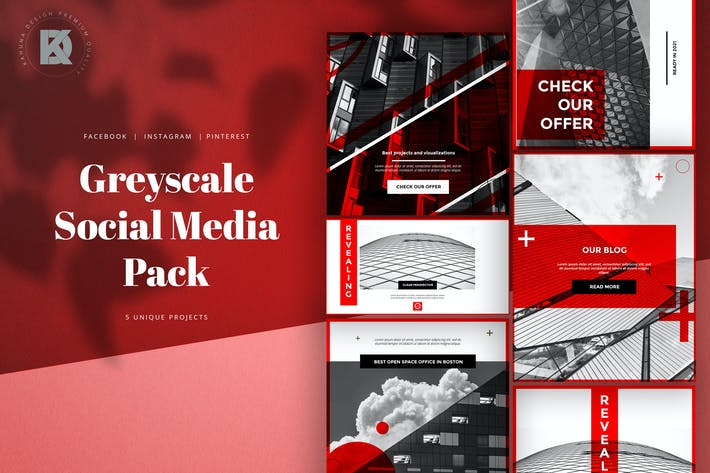 Thumbnail for Greyscale Red Social Media Pack