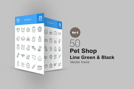 50 Pet Shop Line Grün & Schwarz Icons