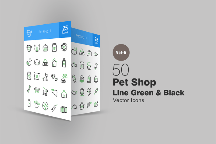 Thumbnail for 50 Pet Shop Line Green & Black Icons