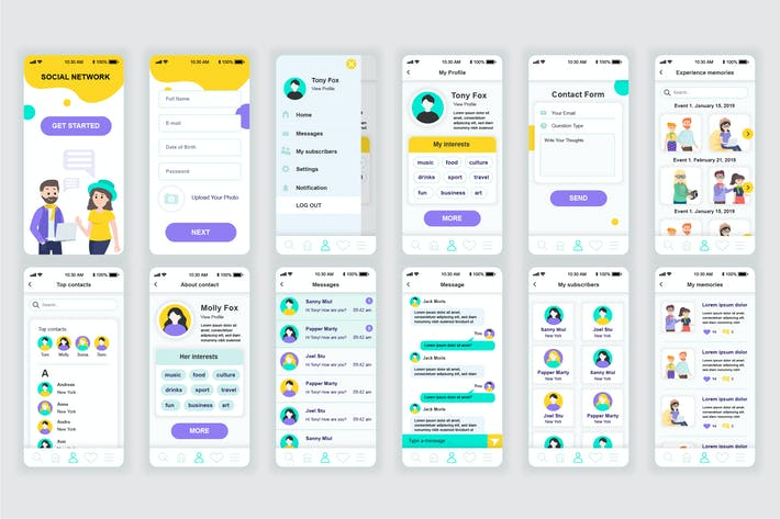 Thumbnail for Social Network Mobile App UX and UI Kit