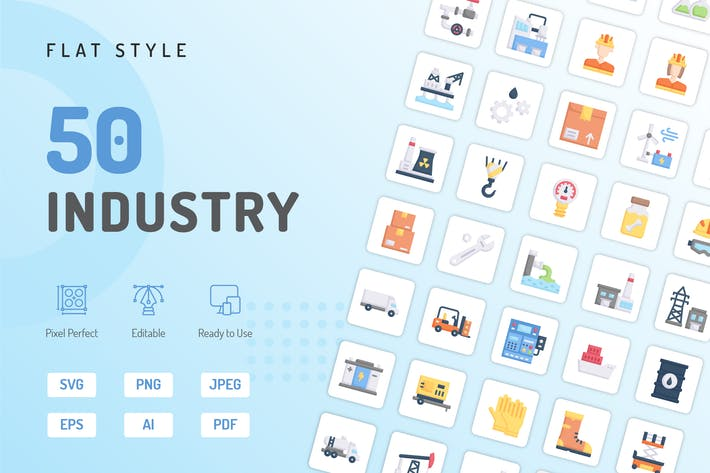 Industrie-Flache Icons