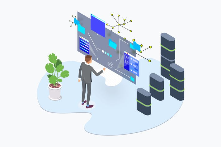 Cover Image For Blockchain Platform Data AR Tech Isometric