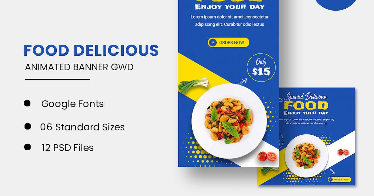 Download Food Delicious Animated Banner GWD by IsLein