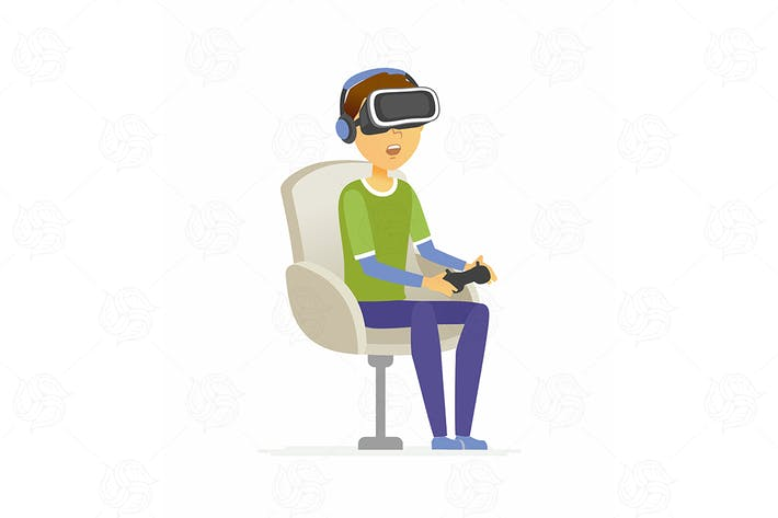 Thumbnail for Boy in vr glasses - vector illustration