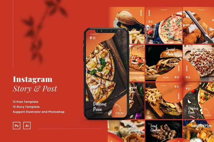 Thumbnail for Fast Food Instagram Puzzle Ads Story and Post