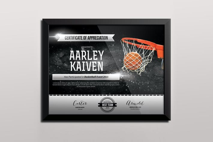 Basketball Certificates by aarleykaiven on Envato Elements