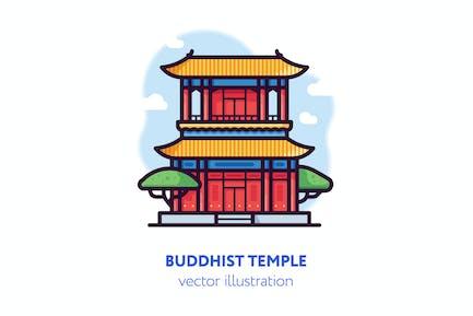 Buddhist temple vector illustration