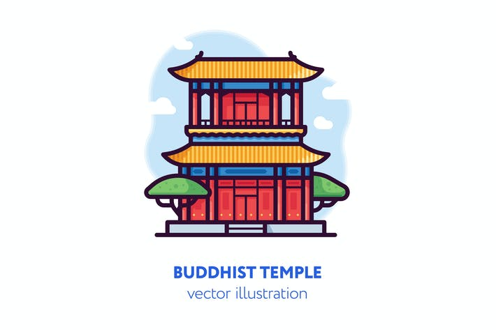 Cover Image For Buddhist temple vector illustration