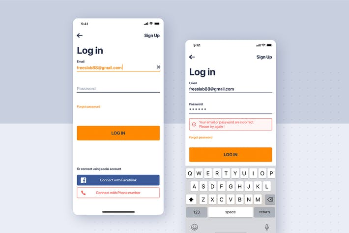 Thumbnail for Car rental mobile UI Kit - Login flow