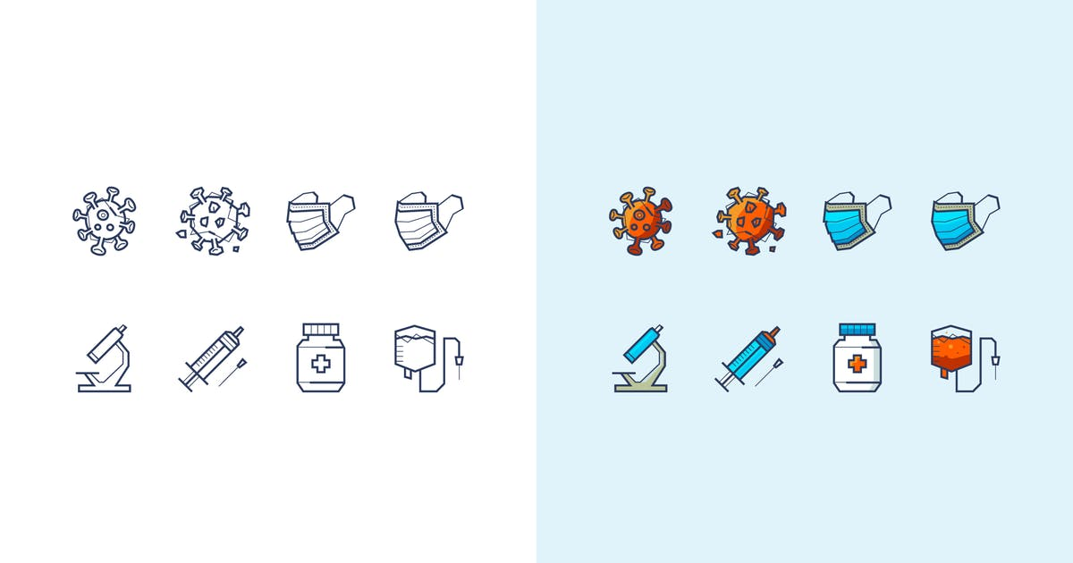 Download Vector icons about coronavirus and medical mask by fet