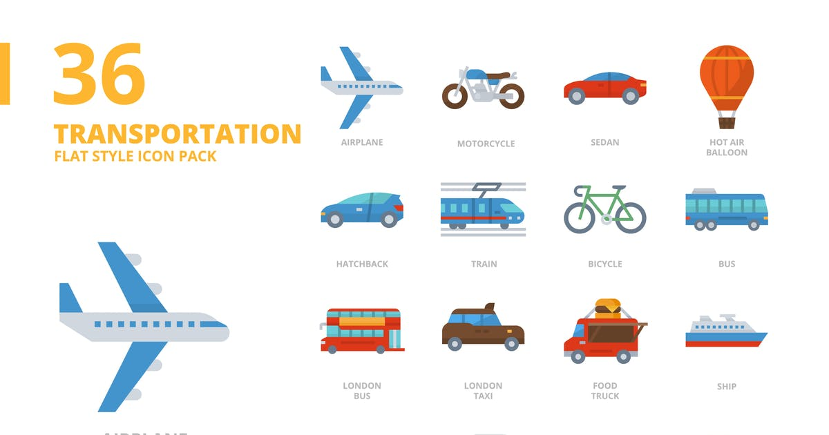 Download Transportation Flat Style Icon Set by monkik