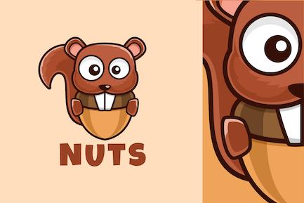 cartoon Squirrel eat nuts logo design