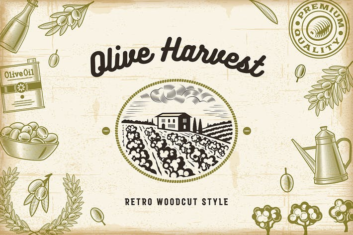 Cover Image For Vintage Olive Harvest Set