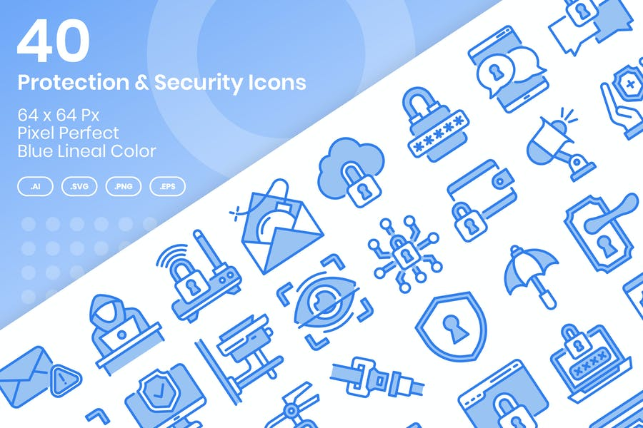 40 Protection & Security Icons - Blue Lineal Color