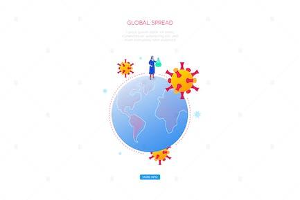 Coronavirus global spread - isometric web banner