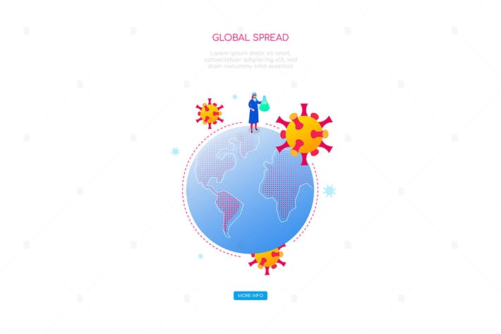 Thumbnail for Coronavirus global spread - isometric web banner