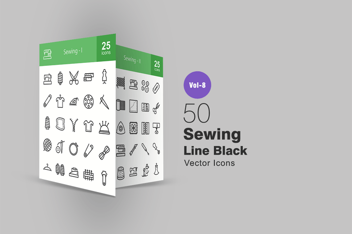 Thumbnail for 50 Sewing Line Icons
