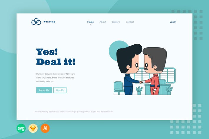 Deal It Website Header - Illustration