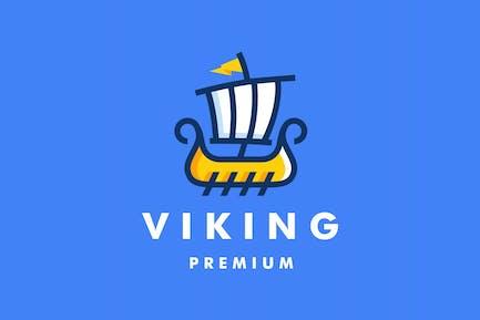 Verspieltes Logo des Wikinger-Segelbootes