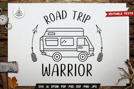 Road Trip Warrior. Camp Badge Design. Linear Label
