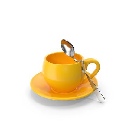 Желтая чашка с ложкой