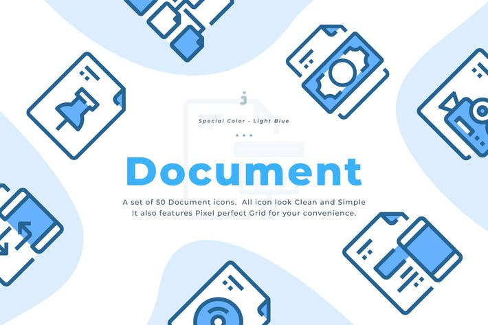Thumbnail for 50 File and Document Icons - Light Blue