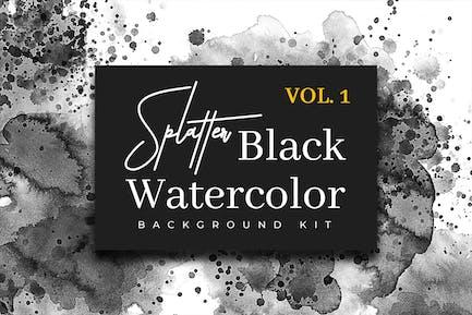 Splatter Black Watercolor Vol. 1