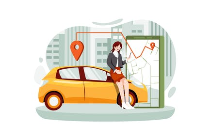 Woman near smartphone screen with route location