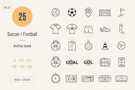 Soccer / Football Outline Icons Volume 01