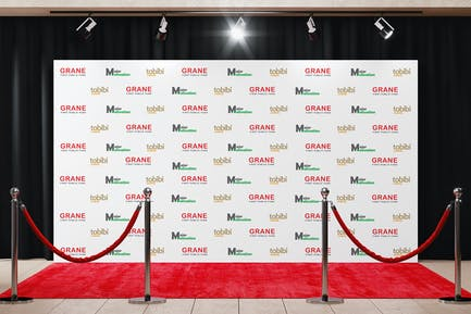 Backdrop Banner With Red Carpet Mockup