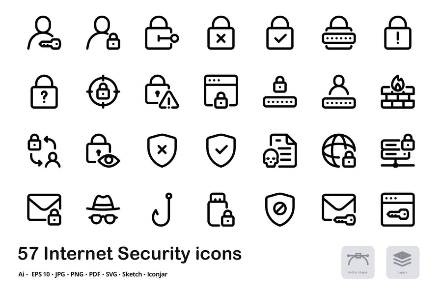 Internet Security Vector Inter Line Icons