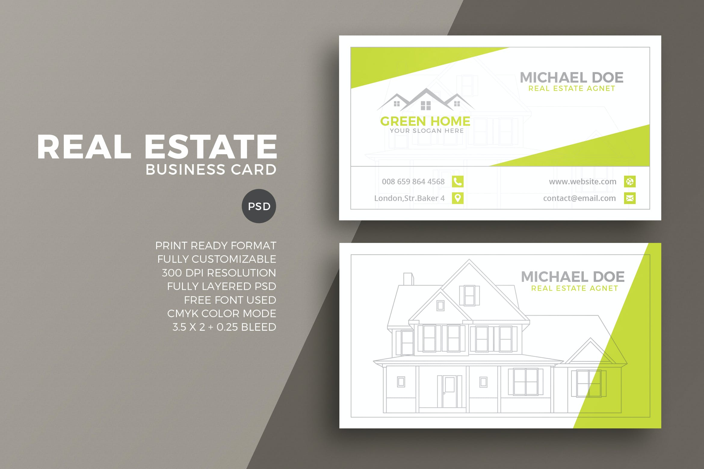 Real Estate Business Card Template By Eightonesixstudios On Envato Elements
