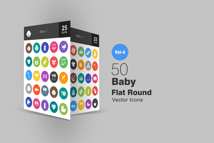 Thumbnail for 50 Baby Flat Round Icons