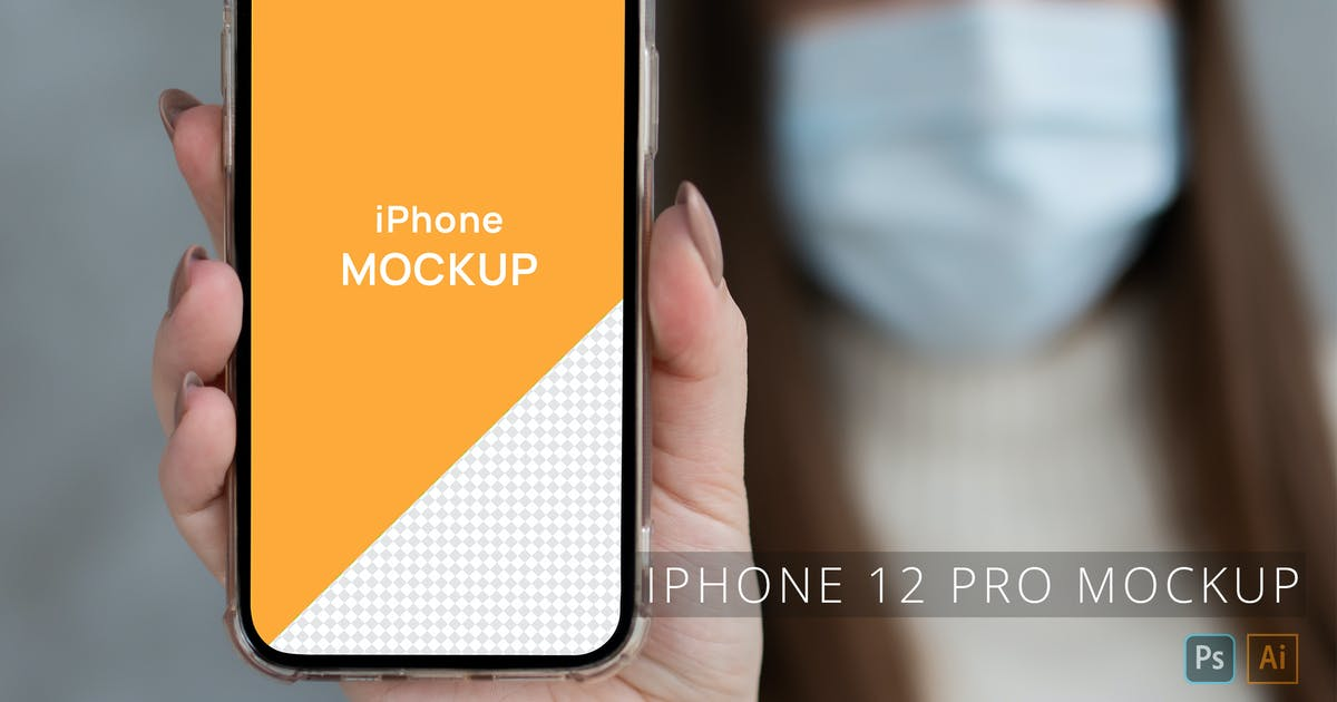 Download iPhone 12 Pro in Hand Mockup Person Wearing Mask by zvolia