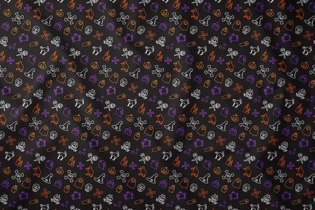 Outline Halloween Seamless Pattern