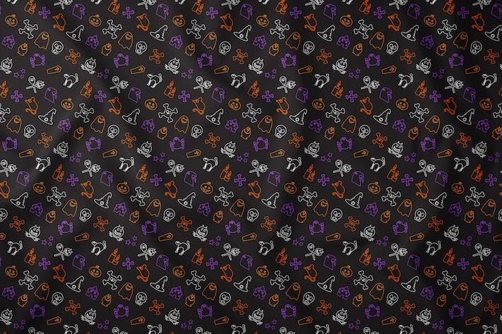 Thumbnail for Outline Halloween Seamless Pattern