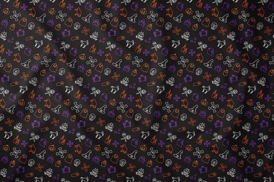Outline Halloween Seamless Pattern