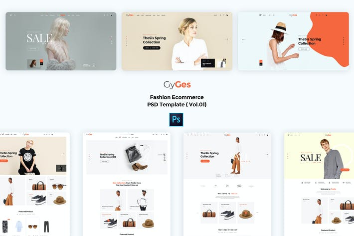 Thumbnail for Gyges-Fashion Ecommerce PSD Template ( Vol.01)
