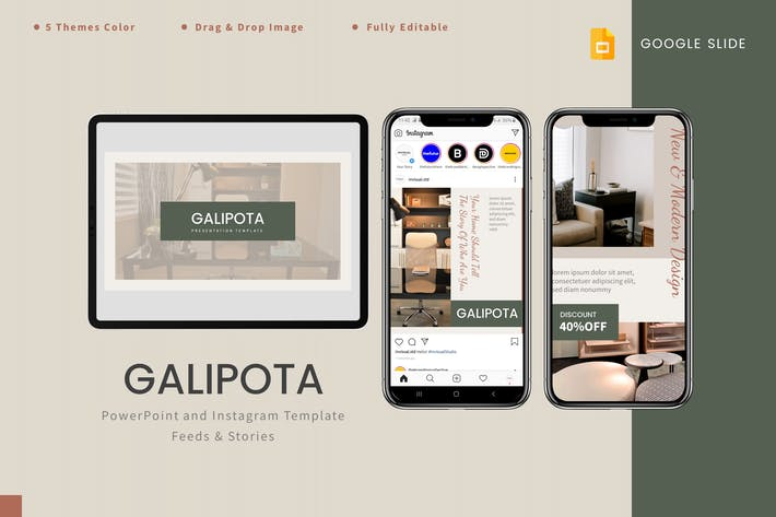 Thumbnail for Galipota - Google Слайды и шаблон Instagram