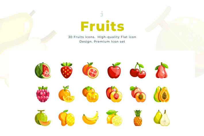 Thumbnail for 30 Fruits Icon set - Flat